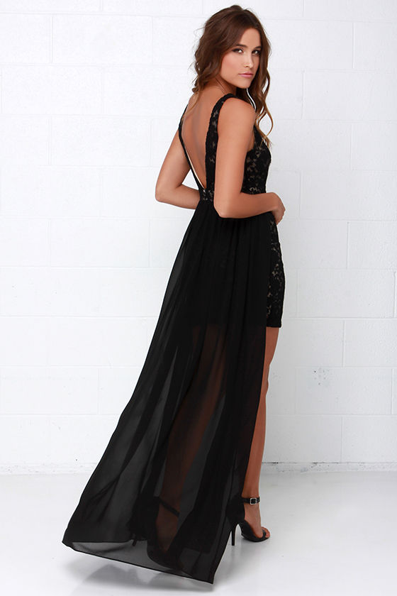 Black Dress - Lace Dress - Maxi Dress - $77.00