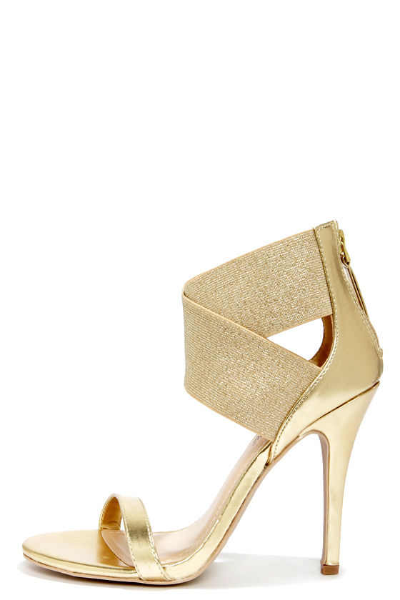 c853465dccd9 Sexy Gold Heels - Ankle Strap Heels - Dress Sandals -  34.00