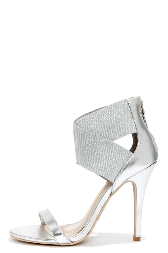 Sexy Silver Heels - Ankle Strap Heels - Dress Sandals - $34.00