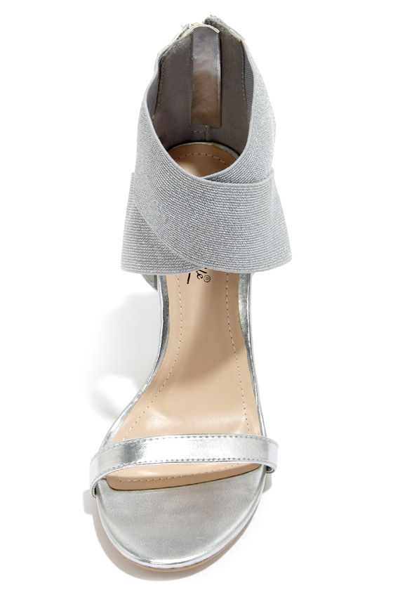 Anne Michelle Enzo 53 Silver Crisscrossing Ankle Strap Heels at Lulus.com!
