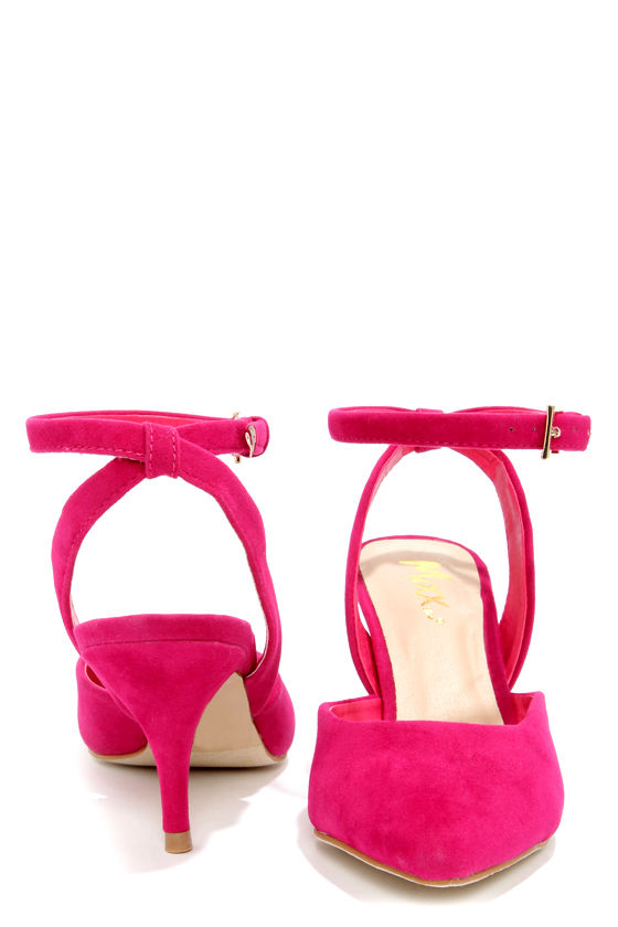 Mixx Shuz Nicki Fuchsia Pointed D'Orsay Kitten Heels at Lulus.com!