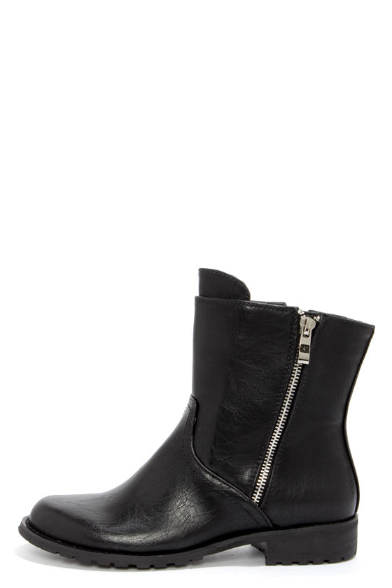 Good Choice Biker Black Ankle Boots at Lulus.com!