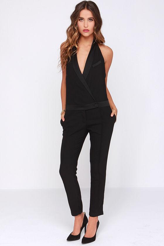 68bd5363188 Chic Black Jumpsuit - Halter Jumpsuit - Tuxedo Jumpsuit -  61.00