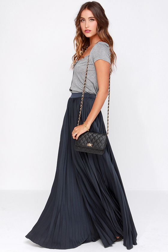 Pretty Navy Blue Skirt - Maxi Skirt - Accordion Pleated Skirt ...