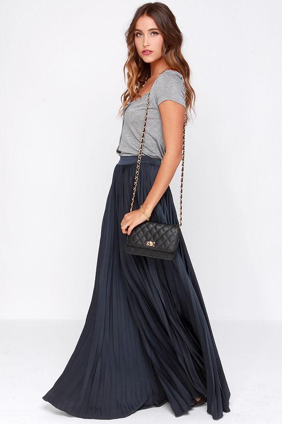 pretty navy blue skirt maxi skirt accordion pleated