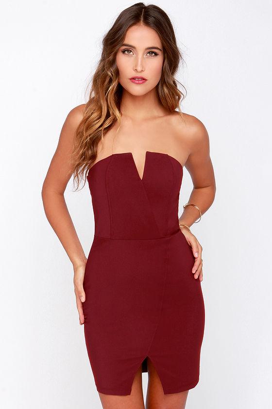 Asymmetry in Motion Wine Red Bodycon Dress
