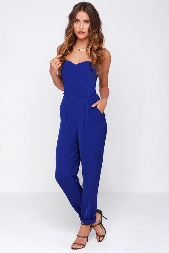 060e3f4e57e Blue Jumpsuit - Strapless Jumpsuit -  43.00