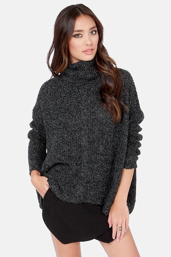 Cute Black Sweater - Grey Sweater - Cowl Sweater - Turtleneck ...