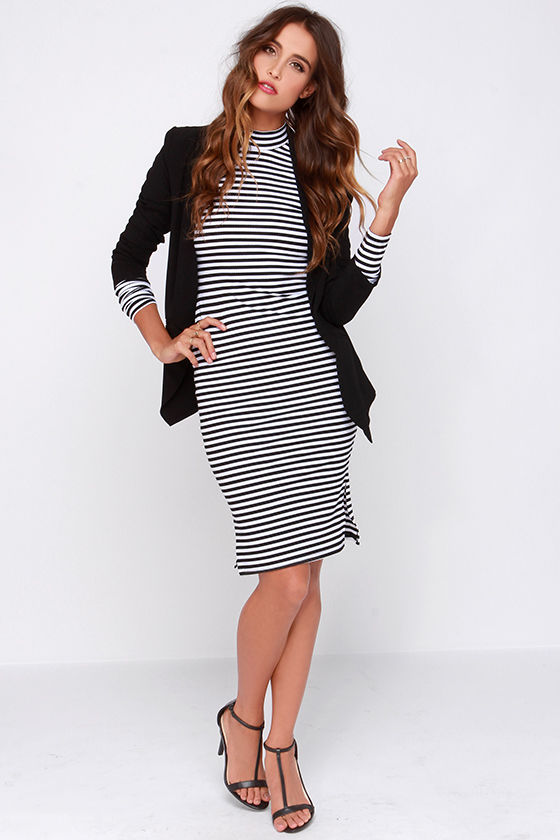 Mink Pink Stripe Skivvy - Chic Striped Dress - Bodycon Dress - Long ... d85b8558a