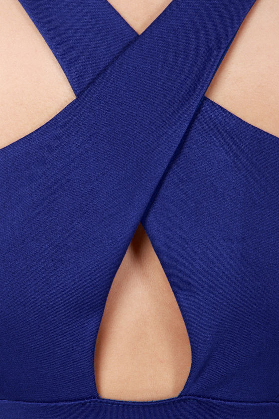 Cross Over Backless Royal Blue Dress at Lulus.com!