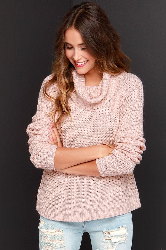 Rib Knit Sweater - Blush Sweater - Cowl Neck Sweater - $68.00