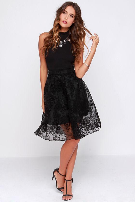 e0a3179d9c04 Pretty Black Skirt - Organza Skirt - Jacquard Skirt - Midi Skirt - $47.00