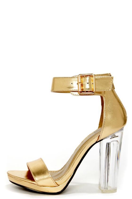 Sexy Gold Heels - Lucite Heels - Dress Sandals - $32.00