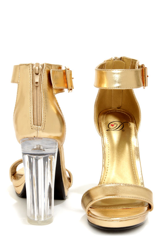 b6389eb41b6 My Delicious Cargo Gold and Lucite High Heel Dress Sandals