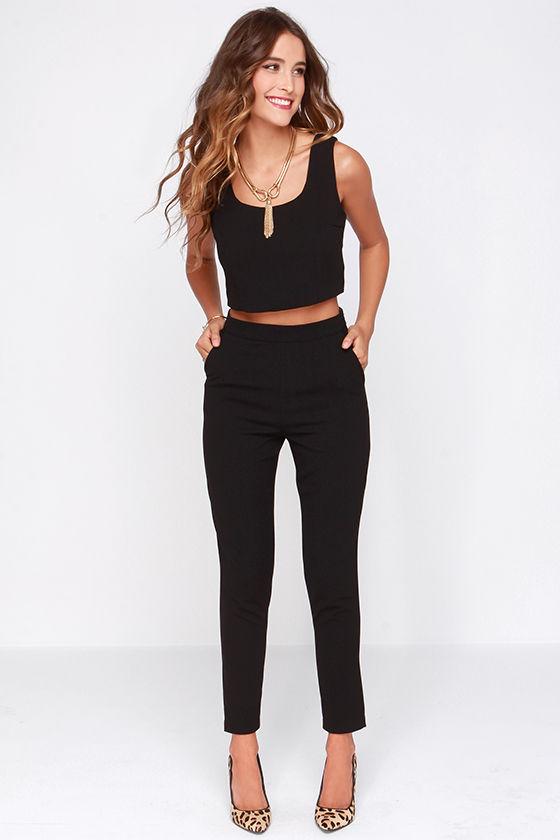 48b66b5d597 Two-Piece Set - Black Outfit - Pants Set -  76.00