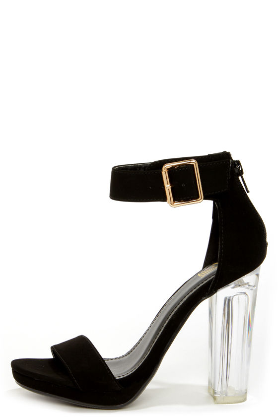 My Delicious Cargo Black and Lucite High Heel Dress Sandals at Lulus.com!