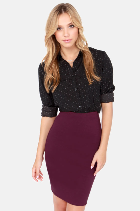 Sexy Burgundy Skirt - Pencil Skirt - High-Waisted Skirt - $34.00