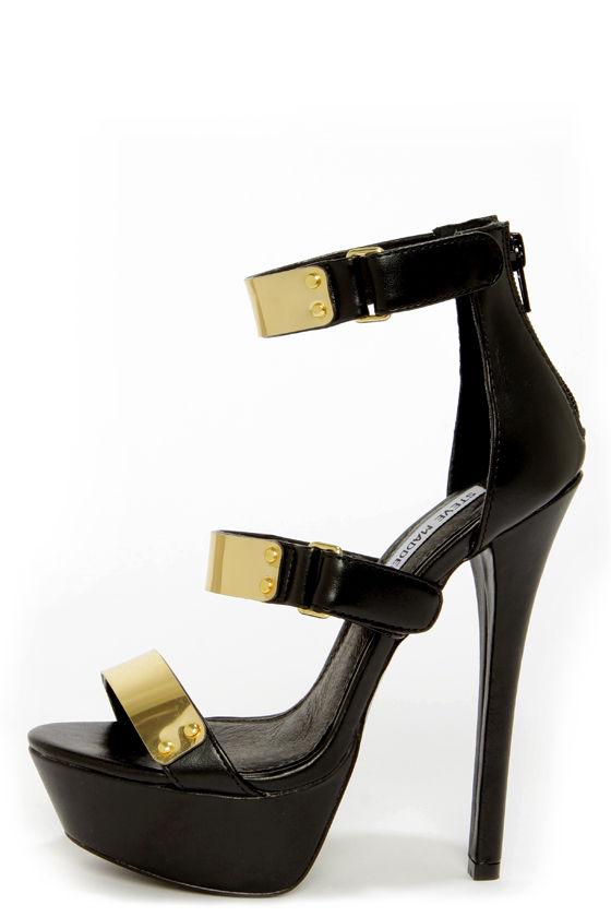 Sexy Black Heels - Gold-Plated Heels - Platform Heels - $109.00