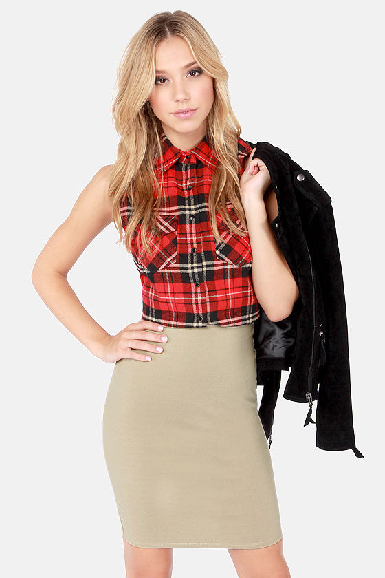 Sexy Beige Skirt - Pencil Skirt - High-Waisted Skirt - $34.00