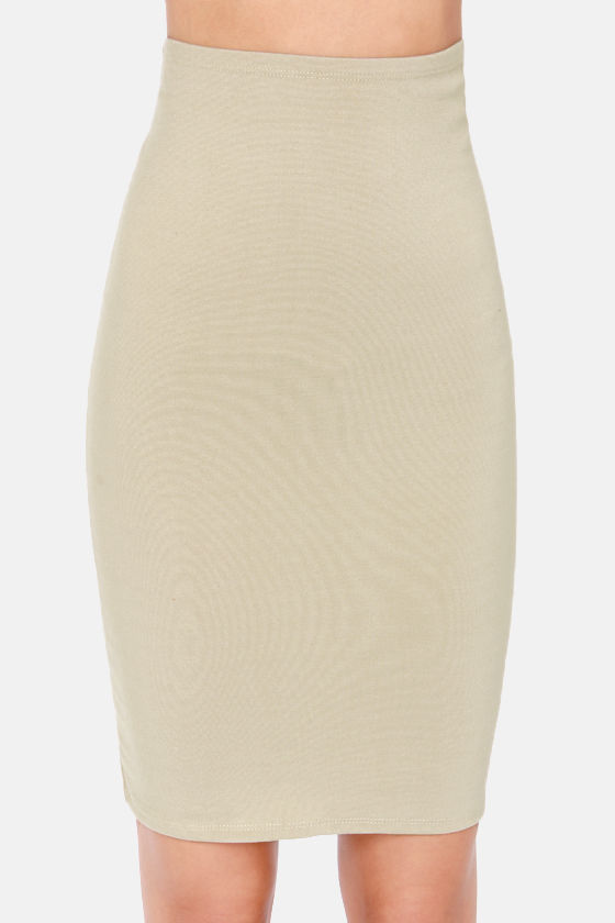 Sketched Out Beige Pencil Skirt at Lulus.com!