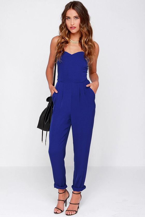 Blue Jumpsuit - Strapless Jumpsuit - $43.00
