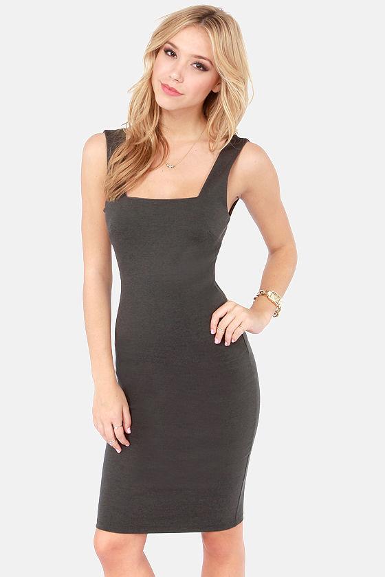 2394e8cdd43c Cute Dark Grey Dress - Bodycon Dress - Midi Dress -  39.00