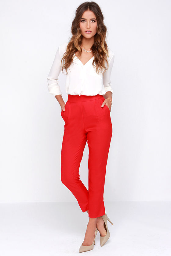 Chic Red Pants High Waisted Pants Red Trousers 37 00