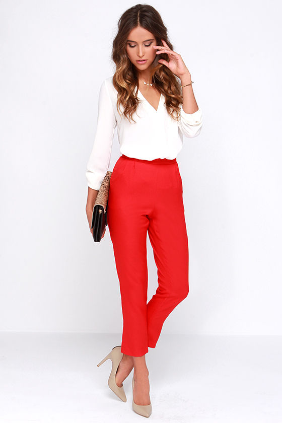 New  Red Pants On Pinterest  Red Pants Outfit Red Jeans Outfit And Blazer
