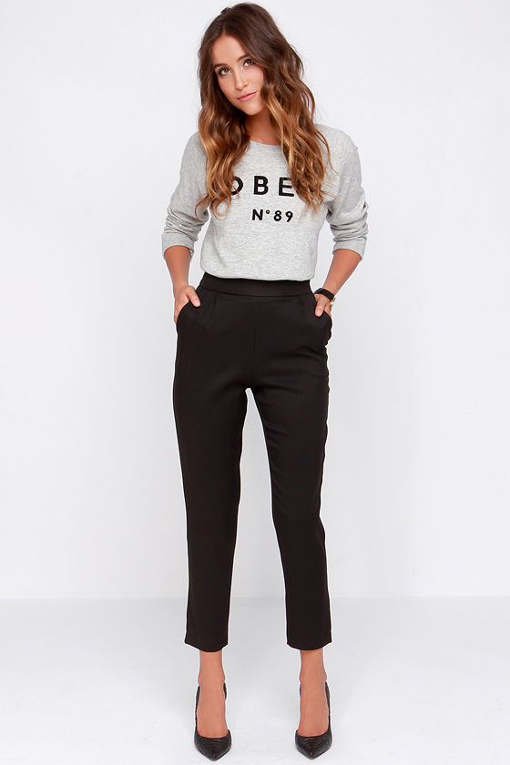 944c187f6ae Chic Black Pants - High Waisted Pants - Black Trousers -  37.00