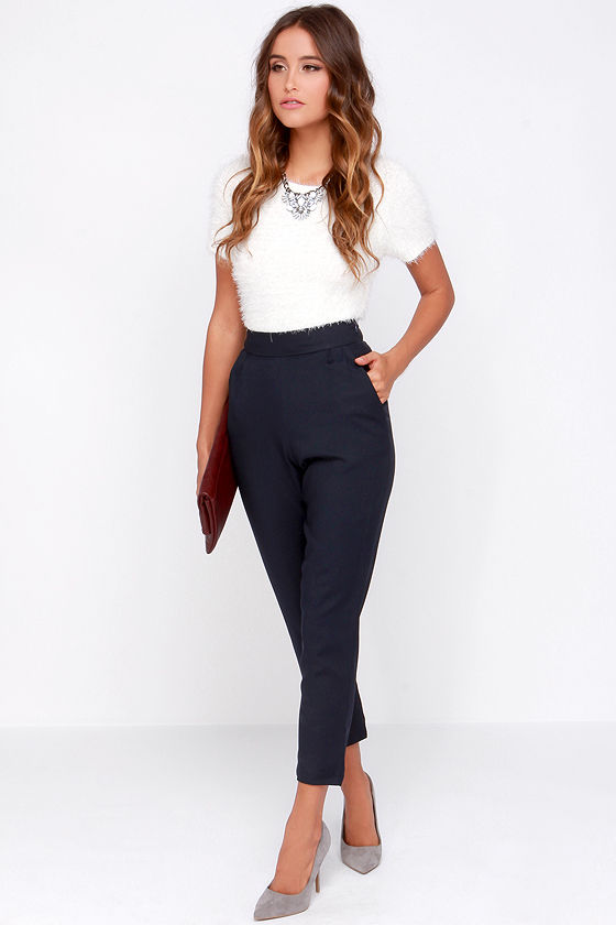 a720c9cc67d3f4 Chic Navy Blue Pants - High Waisted Pants - Blue Trousers - $37.00