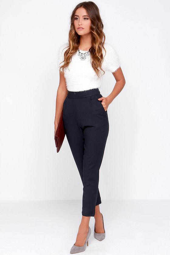 e9b0d75043 Chic Navy Blue Pants - High Waisted Pants - Blue Trousers - $37.00