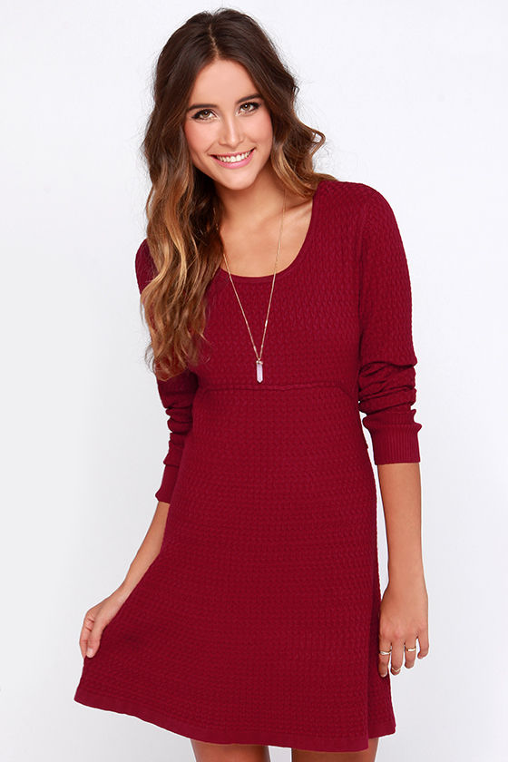 Chic Wine Red Dress - Sweater Dress - Long Sleeve Dress - $77.00