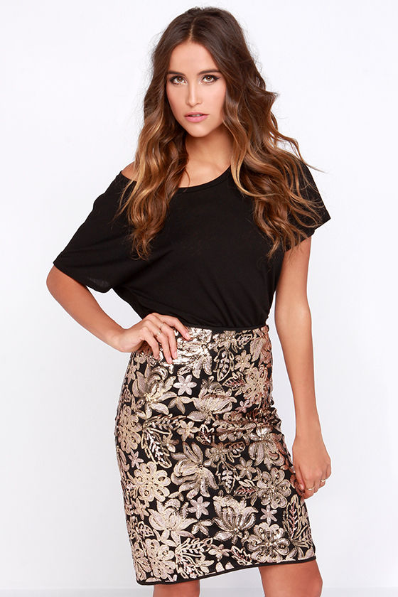 Sequin Skirt - Floral Skirt - Gold Skirt - $40.00