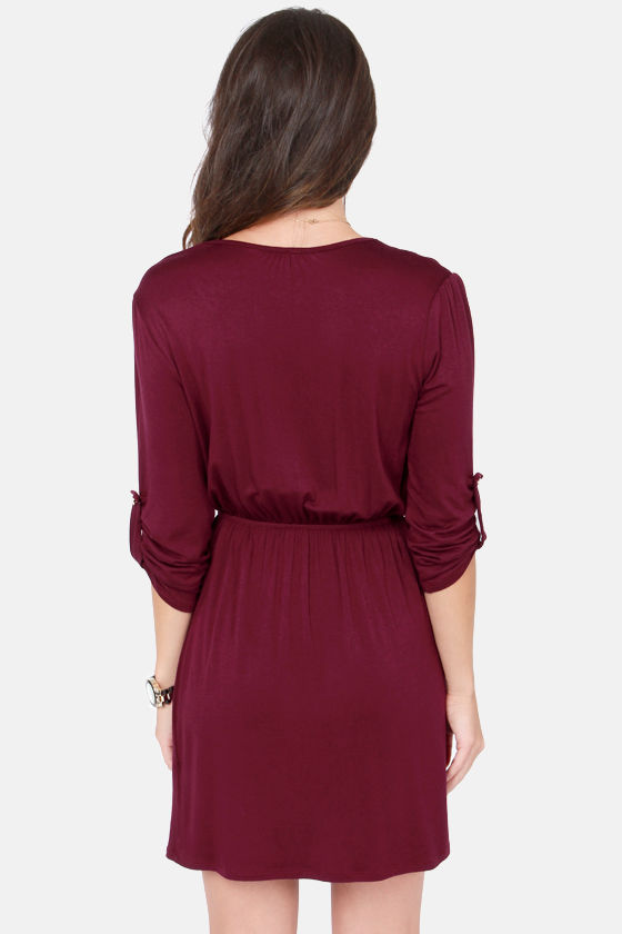 Overlap of Luxury Burgundy Wrap Dress at Lulus.com!