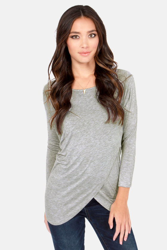 Tulips Don't Lie Long Sleeve Grey Top at Lulus.com!