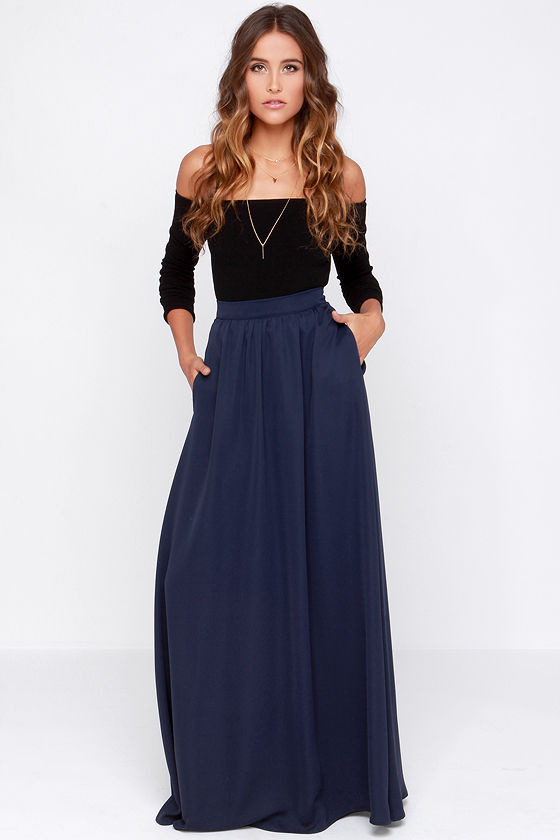 Navy Blue Skirt - Maxi Skirt - $103.00