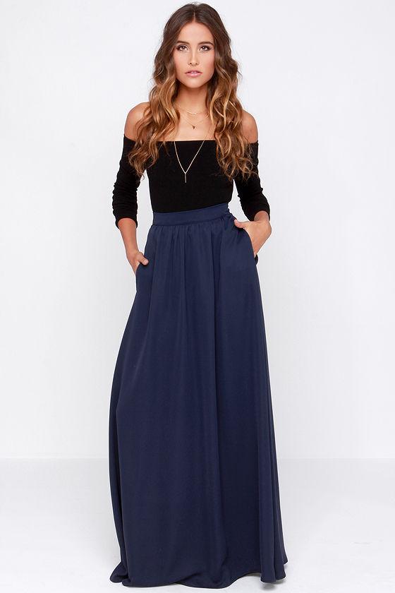 Tempting Fate Navy Blue Maxi Skirt