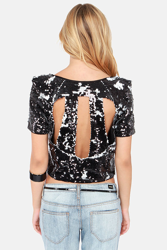 Haute to Trot Black Sequin Top at Lulus.com!