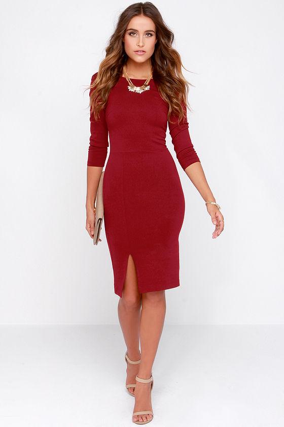 dee1a4187282 Cute Wine Red Dress - Midi Dress - Bodycon Dress -  39.00