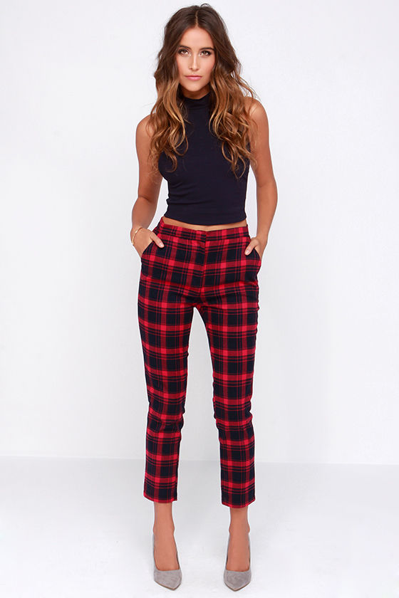 Top Cute Plaid Pants - Red Pants - Navy Blue Pants - Plaid Pants - $49.00 NI61