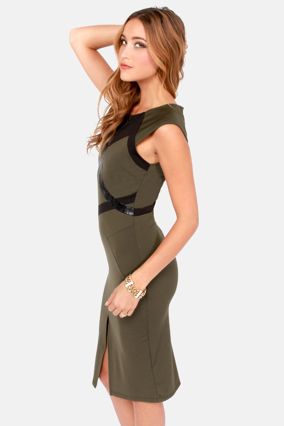 Look Lively Black and Olive Green Dress at Lulus.com!