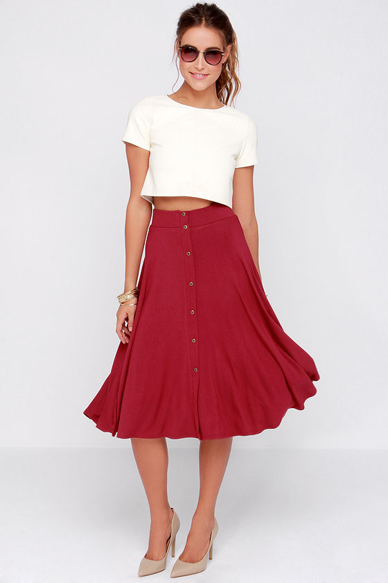 Pretty Wine Red Skirt - Burgundy Skirt - Midi Skirt - A Line Skirt ...