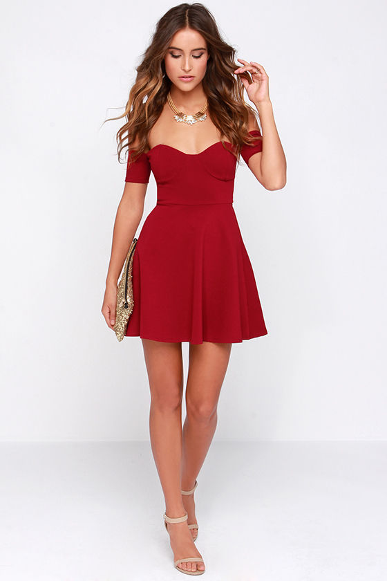 3c8342b2f9c4 Sexy Wine Red Dress - Off-the-Shoulder Dress - Skater Dress -  44.00