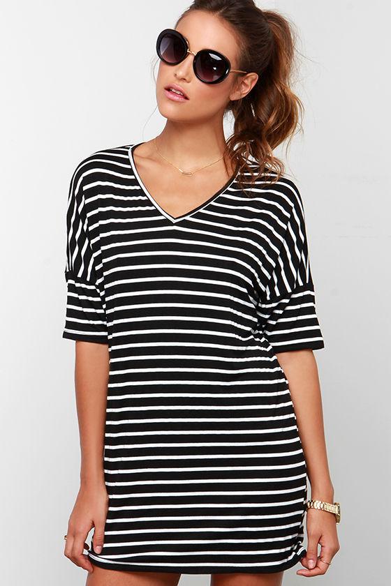 039bdd2f6c Black Dress - Striped Dress - Shift Dress -  33.00