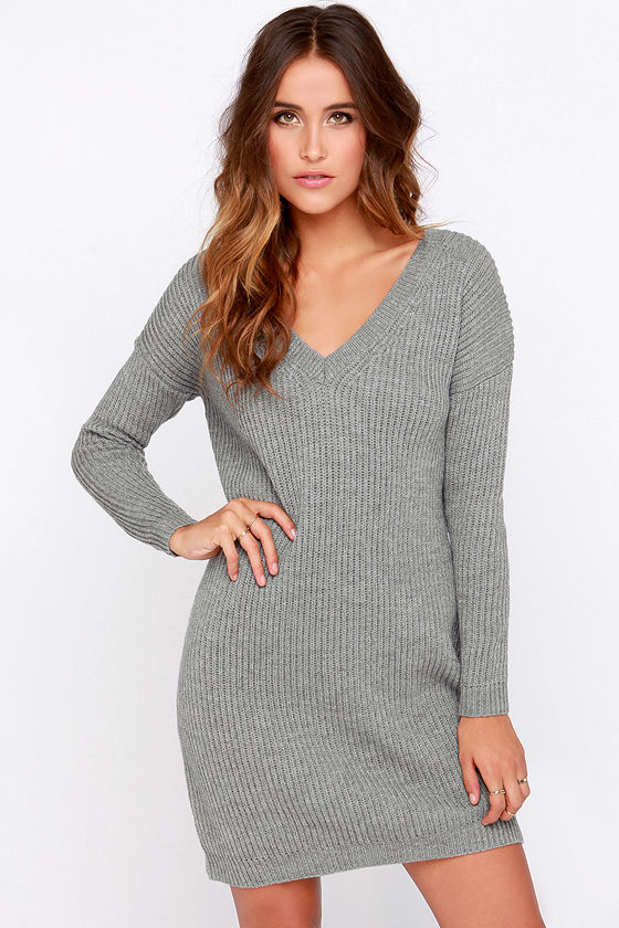 Grey Dress - Sweater Dress - Long Sleeve Dress - $38.00