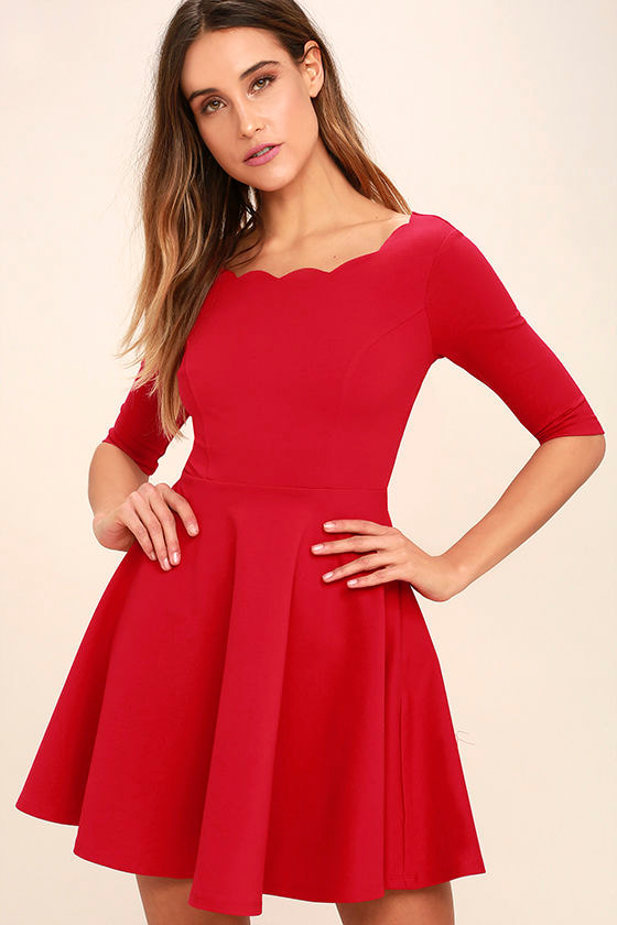 Cute red dress scalloped dress skater dress 46 00