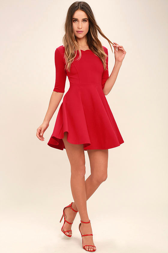 LULUS Exclusive Tip the Scallops Red Dress 2