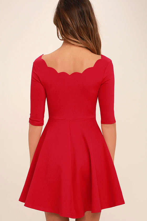 LULUS Exclusive Tip the Scallops Red Dress 4