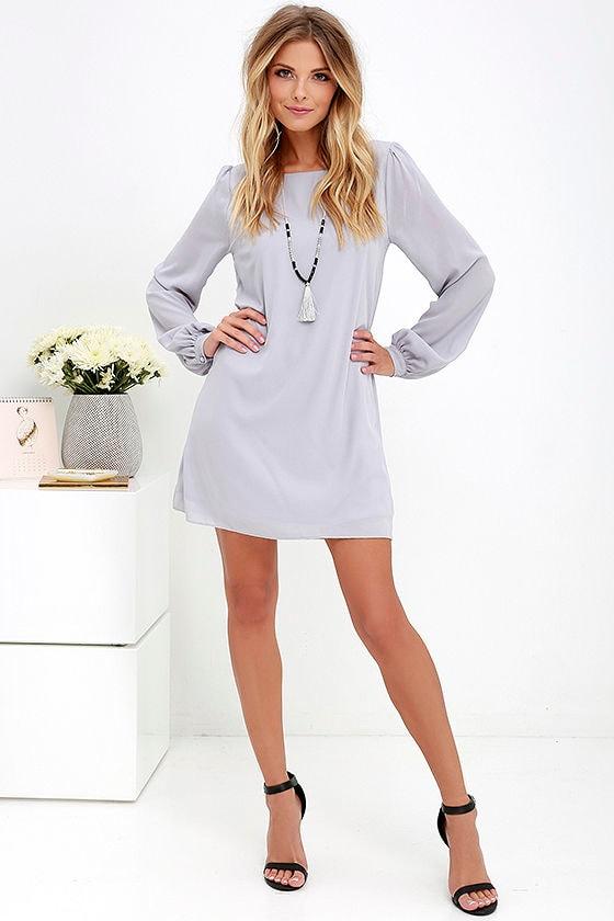 LULUS Exclusive Status Update Light Grey Shift Dress 2