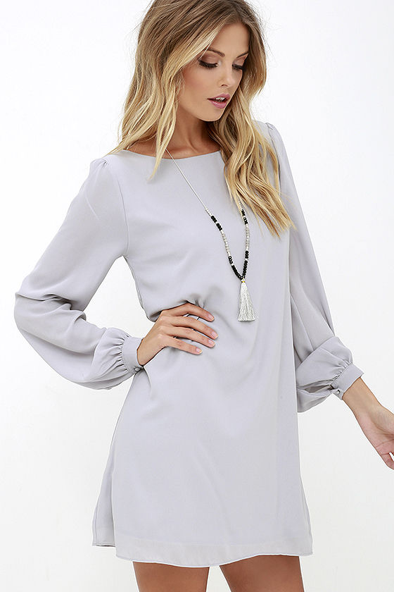 LULUS Exclusive Status Update Light Grey Shift Dress 3